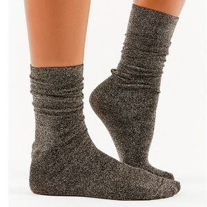 Urban Outfitters Party Sparkle crew socks -silver